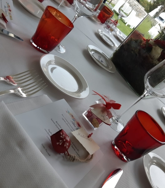 Table with bridal decorations