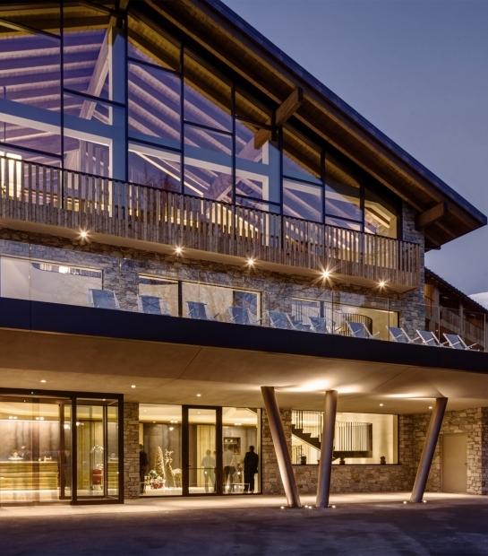 Illuminated hotel exteriors