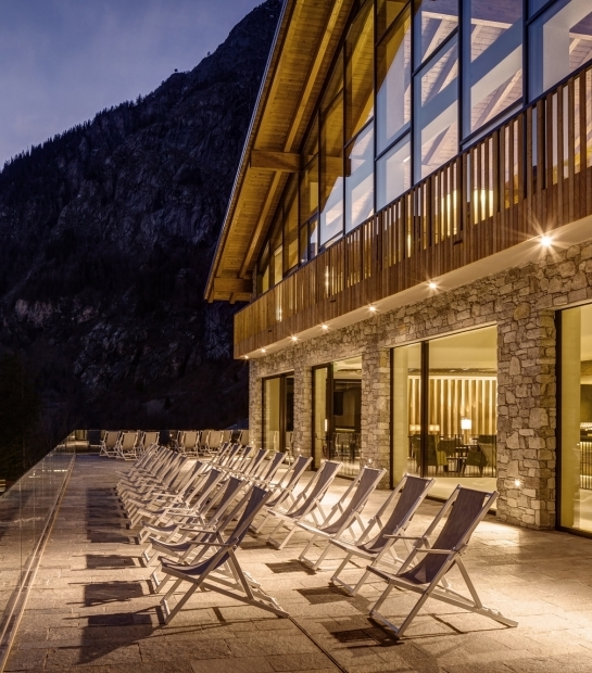 Exterior of the hotel by night