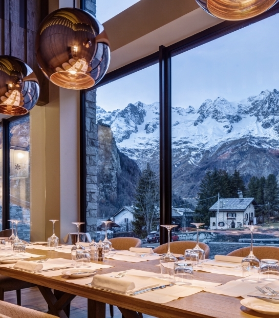 View of Mont Blanc from the restaurant windows