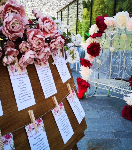 Wedding decorations at the Grand Hotel Courmayeur Mont Blanc
