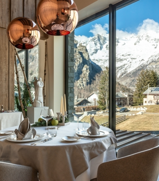 Spectacular view of the Alps from the Restaurant